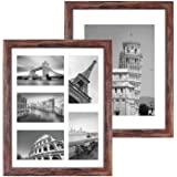 Q.Hou 11x14 Picture Frames Wood Patten Rustic Brown Set of 2, Each Frame with 2 Mats,Display 8x10 or Five 4x6 Photos with Mat