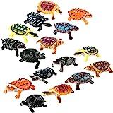 Bememo 16 Pieces Realistic Sea Turtle Lifelike Tortoises Ocean Animal Plastic Small Turtle Figurines for Party Favor Decorati