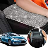 OMNFAS Bling Car Armrest Cover Cute Charming Auto Center Console Protective Cover Luster Crystal Rhinestone Car Arm Rest Cush