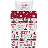 The Elf on the Shelf Joy Duvet Set, Combed Cotton, Multi-Colour, Single