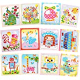 GenericBrands 12Pcs Colorful Sticky Buttons Mosaic Paintings Art Kits for Kids 2-6 Years Old, DIY Mosaic Art Crafts Early Lea