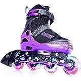 PAPAISON インラインスケート ローラースケート サイズ調整可能 発光 子供用 大人 Inline skate 女…