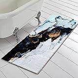 RoomTalks Black Gold Marble Bathroom Runner Rug Faux Wool Shaggy Soft Non-Slip Bath Rugs for Small Bathroom Washable Floor Ma