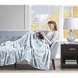 Beautyrest Elect Blanket Heated Print Plush Throw, BR54-0667-PARENT, Aqua, 60 x 70