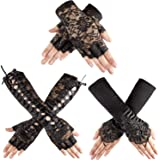 3 Pairs Lace Fingerless Gloves Elbow Lace Up Gloves Black Lace Satin Gloves Black Bridal Short Gloves