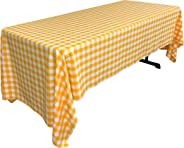 LA Linen Checkered Tablecloth, 60 by 120-Inch, Dark Yellow