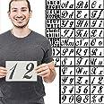 Mosaiz 木製ペイント用文字ステンシル - 40枚 再利用可能な特大アルファベットステンシル サインと数字ステンシルテンプレート 壁 ガラス キャンバス 生地 5 x 8インチ