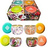 Big Aromatherapy Scented Candles Essential Oils Natural Soy Wax Portable Travel Tin Candle Set of 4 Gift Huge 6 Ounce tins 14