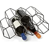 Countertop Wine Rack - 9 Bottle Wine Holder for Wine Storage - No Assembly Required - Modern Black Metal Wine Rack - Wine Rac