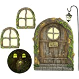 Fairy Door and Windows for Trees – Glow in The Dark Yard Art Sculpture Decoration for Kids Room, Wall and Trees Outdoor   Min