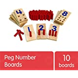 Excellerations 2.5 X 5 inches, Peg Number Boards Wooden, Counting Teaching Toy, Educational Toy, Preschool, Kids Toys (PEGNUM