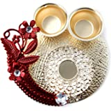 Itiha Metal Red Floral Haldi Kumkum Holder/Return Gift/Diwali Gift/Festive Gift/Mehendi Gift- 3.5 inches