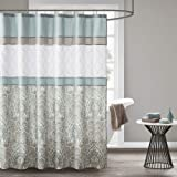 510 Design Printed Elegant Bathroom Shower Curtain Ultra Soft and Modern Look, 72x72, Shawnee Seafoam