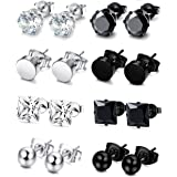 LOLIAS 8 Pairs Stainless Steel Stud Earrings for Men Women Piercing Earrings,3-8MM