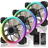 EZDIY-FAB 新しいデュアルリング120mm RGB LEDケースファン、5Vマザーボード同期、速度調整可能、RGB同期ファン、ファンハブXリモート-3本1セット