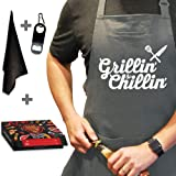 Chef Apron for Men, Cooking Apron, Funny Apron, BBQ Apron, 3 Pockets, Bottle Opener, Towel and Gift Box Included, Gray 100% C