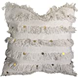 satTva Boho White Cushions Covers - Decorative Throw Pillow Covers For Living Room Sofa 45x45- 𝙷𝚊𝚗𝚍𝚖𝚊𝚍𝚎 Textured Cott