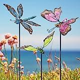 Juegoal 34 Inch Butterfly Garden Stakes Decor, Dragonfly Hummingbird Stakes, Glow in Dark Metal Yard Art, Indoor Outdoor Lawn