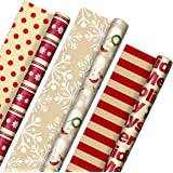 """Hallmark Reversible Christmas Wrapping Paper (3 Rolls: 120 sq. ft. ttl)""""Merry Holidays,"""" Snowflakes, Snowmen, Red Stripes"""