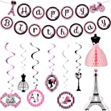 Paris Party Decorations Set, Paris Happy Birthday Banner Dress Honeycomb Centerpiece Eiffel Tower Cutout Paris Hanging Swirl
