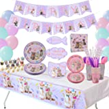 Cat Birthday Party Supplies Set, Kitten Disposable Tableware Includes Happy Birthday Banner, Spoons, Fork, Plates, Tablecloth