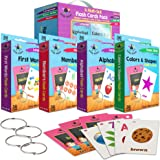 Star Right Flash Cards Set of 4 - Numbers, Alphabets, First Words, Colors & Shapes - Value Pack Flash Cards with Rings for Pr
