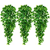 AGEOMET 3PCS Artificial Hanging Plants Fake Ivy Leaves for Wall Home Porch Garden Fence Decoration