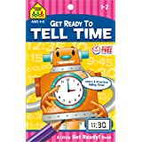 School Zone - Tell Time Workbook - Ages 6 to 8, 1st Grade, 2nd Grade, Telling Time, Digital, Analog, Clock, and More (School