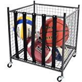 Mythinglogic Rolling Sports Ball Storage Cart, Sports Lockable Ball Storage Locker with Elastic Straps, Stackable Ball Cage f