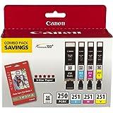Canon PGI-250/CLI-251 with Photo Paper 50 Sheets Compatible to MG6320, iP7220 & MG5420, MX922, MG7120, MG6420, MG5520, iX6820