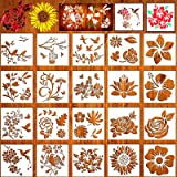 20 Pieces Flower Stencils for Painting On Wood Canvas, Reusable Art Rose Sunflower Bird Leaf Floral Stecil Drawing Template f