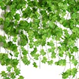Udefineit 12 Pack 27.5m/90ft Artificial Green Maple Leaves Hanging Vines, Foliage Ivy Garland Greenery Leaves Spring Hanging