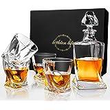 Lighten Life 5 Piece Whiskey Decanter and Glass Set,Crystal Whiskey Decanter Set with 4 Glass in Gift Box,Bourbon Glass Decan