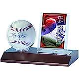 ウルトラプロ ベースボール&カード・ディスプレイホルダー 木製台座付 ブラウン