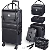 Byootique 3in1 Leather Makeup Artist Travel Train Case Lockable Rolling Cosmetic Trolley with Removable Belt Organizer Storag