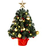 Solpex Tabletop Christmas Tree, 20 Inch Artificial Christmas Tree Battery Operated Lighted Mini Christmas Tree with 8 Mode LE