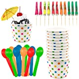 Ice Cream Sundae Kit - 12 Ounce Polka Dot Paper Treat Cups - Heavyweight Plastic Spoons - Paper Umbrellas - 12 Each Pink Oran
