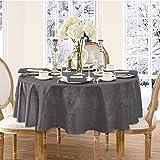 Newbridge Barcelona Luxury Damask Fabric Tablecloth, 100% Polyester, No Iron, Soil Resistant Holiday Tablecloth, 70 Inch Roun