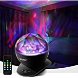 [Upgraded Version] SOAIY Soothing Aurora LED Night Light Projector with UL Certified Adapter,Timer,Remote,Music Speaker,8 Lig