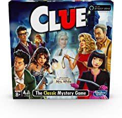 Clue Game; Incudes the Ghost of Mrs. White; Compatible With Alexa (Amazon Exclusive); Mystery Board Game for Kids Ages 8 and