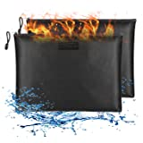 Fireproof Document Bags 2 Packs,13.4x9.8 Inches Waterproof and Fireproof Money Bag,Fireproof Safe Storage Pouch with Zipper f