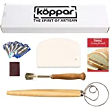 Koppar Bread Lame, Danish Dough Whisk and Flexible Dough Scraper Set - Easy to Use & Clean, Perfect Bread Making Kit Premium