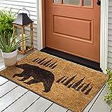 Klattii Indoor Outdoor Funny Doormat for Entryway Brown Bear Welcome Mats for Front Door Western Rustic Shoe Mat Cabin Decor