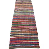 Chardin home Eco Friendly 100% Recycled Cotton Colorful Chindi Runner Area Rug - 2'X7'