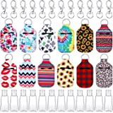 36 Pieces Empty Travel Size Bottle and Keychain Holder Set, Include Keychain Hooks with Rings, 30 ml Flip Cap Reusable Bottle