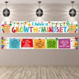 2 Pieces Motivational Classroom Banner Poster Inspirational Positive Growth Mindset Banner with 40 Pieces Glue Points for Stu