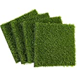 Juvale Synthetic Grass - 4-Pack Artificial Lawn, Fake Grass Patch, Pet Turf Garden, Pets, Outdoor Decor- Non-Slip Turf, Green