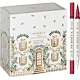 PRIMROSIA 100 Dual Tip Marker Pens, Fineliner and Watercolor Brush Pens for Art Sketching Illustration Calligraphy Permanent