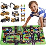 SunbriloStore Construction Vehicles Truck Toys with Playmat,Vehicles Toy Play Set with a Kid Play Car Rug,Engineering Vehicle