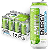 OPTIMUM NUTRITION ESSENTIAL AMINO ENERGY Plus Electrolytes Sparkling Hydration Drink, Green Apple, Keto Friendly BCAAs, 12 Co